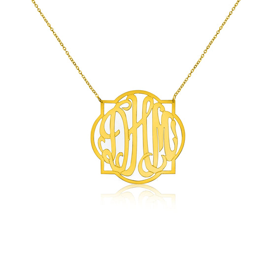 Gold Vermeil Quatrefoil Monogram Split Chain Necklace - Medium - Temptic Personalized Jewelry - Monograms - Name Plates - Name Bars - Silver and Gold