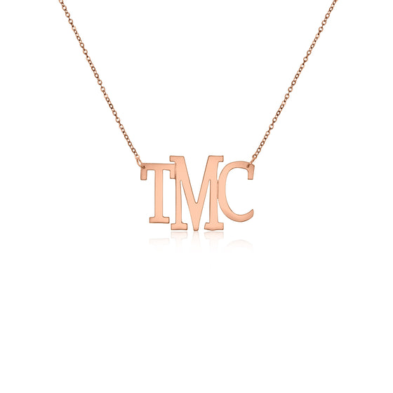 Rose Gold Vermeil Medium Modern Bold Monogram Split Chain Necklace