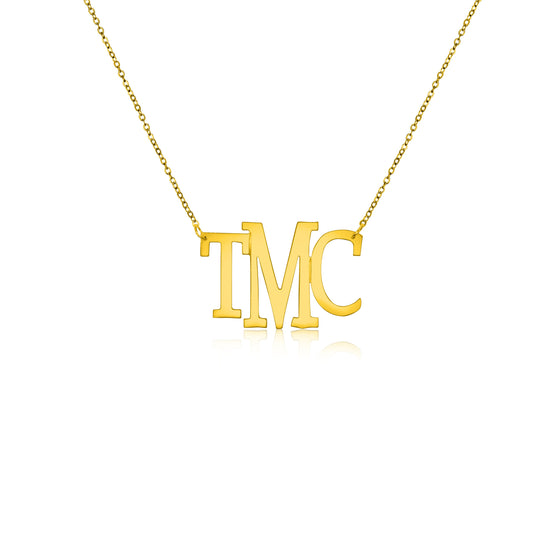 Gold Vermeil Medium Modern Bold Monogram Split Chain Necklace - Temptic Personalized Jewelry - Monograms - Name Plates - Name Bars - Silver and Gold