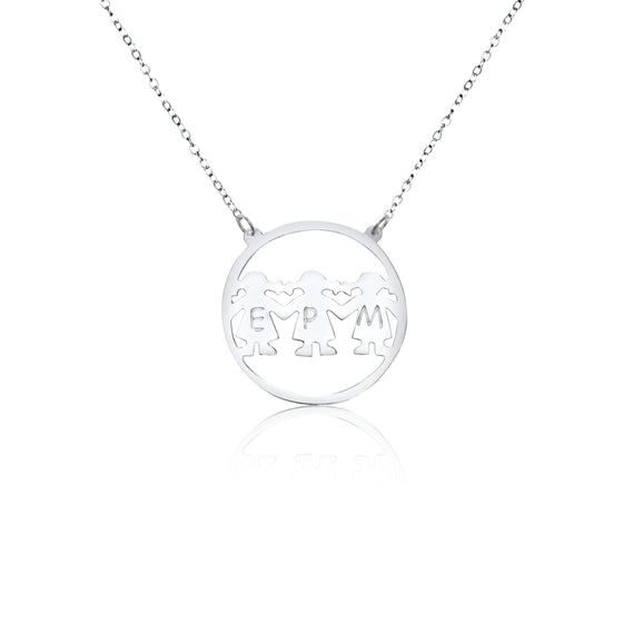 Sterling Silver Three Initials Mama Necklace