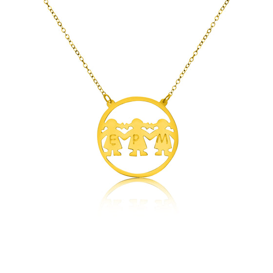 Gold Vermeil Three Initials Mama Necklace - Temptic Personalized Jewelry - Monograms - Name Plates - Name Bars - Silver and Gold