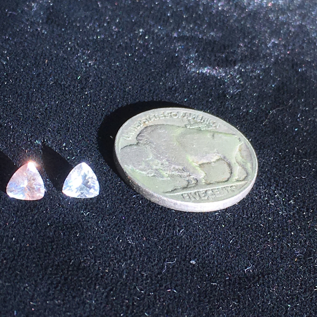 5mm Trillion Cut Faceted Oregon Sunstone, American Mined Gemstones