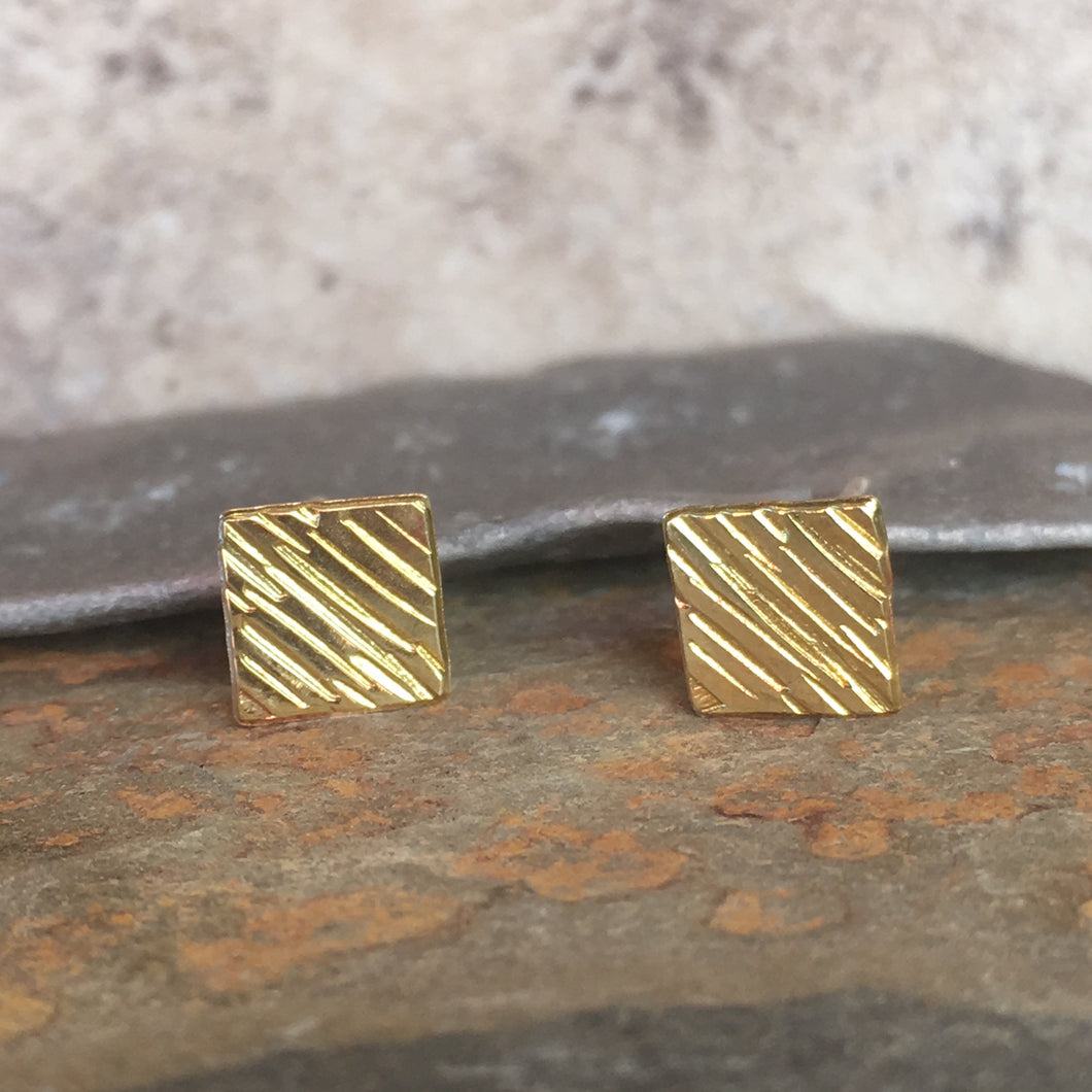 Simple Textured Square Stud Earrings