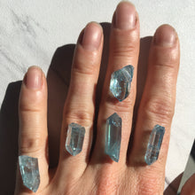 Raw Aqua Aura Quartz Crystal Ring
