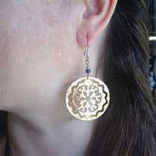 Aya Flower w/ Serpent Hammered Disc Dangle Earrings
