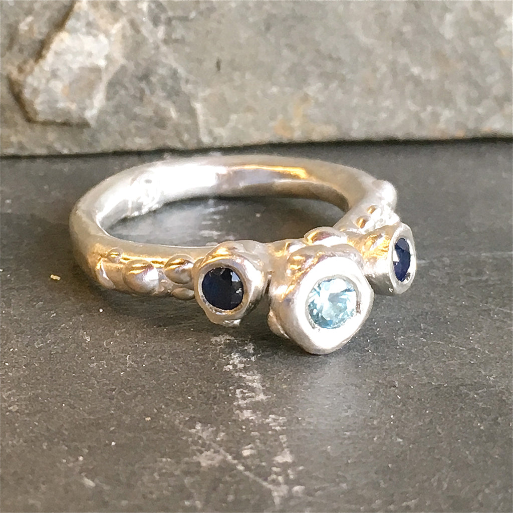 Three Stone Aquamarine and Blue Sapphire Sterling Silver Barnacle Ring Size 6.5
