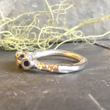 Five Stone Blue Sapphire and Diamond Sterling Silver Barnacle Ring Size 6.5