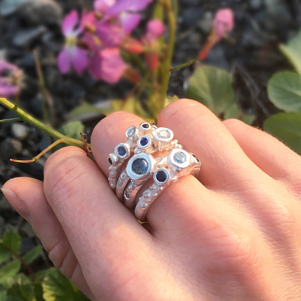 Ocean Barnacle Wedding Ring With Diamond And Blue Sapphire Raw