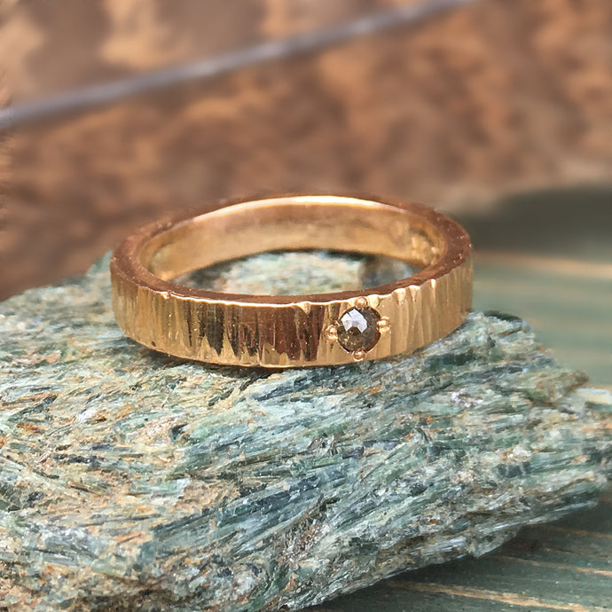 Custom 22kt Red Gold Hammered Anniversary band w/ beadset Rose Cut Diamond