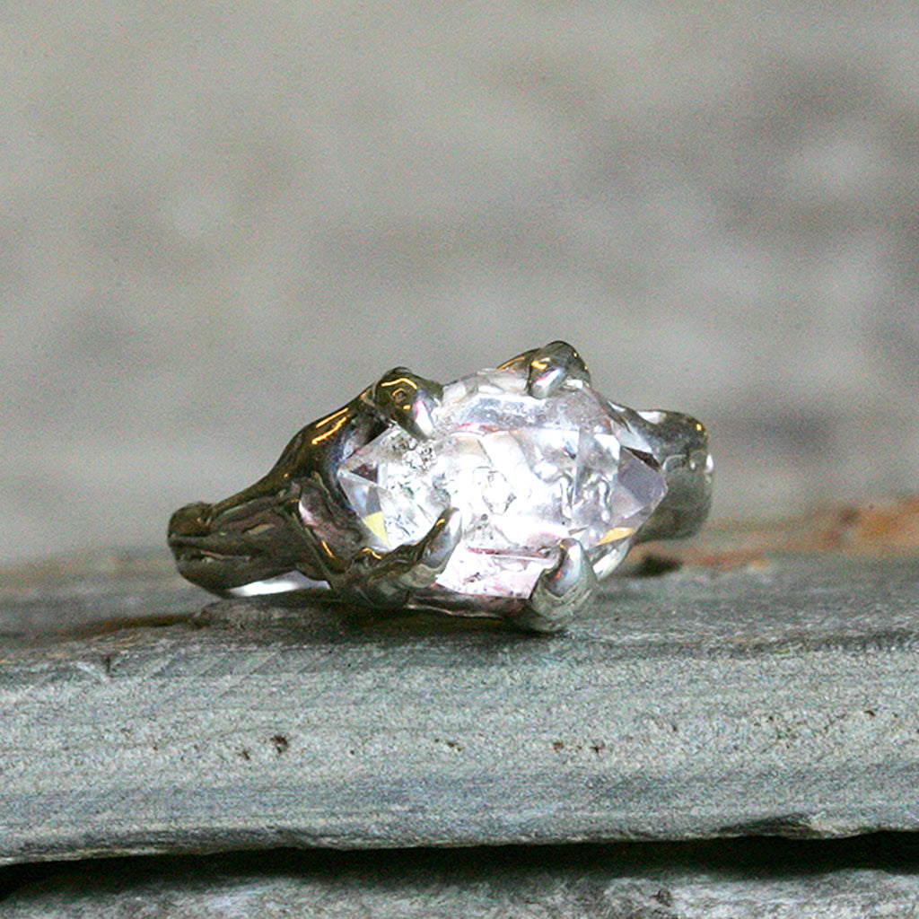 uncut engagement products white rings raw diamond carat gold studio point ring no halo