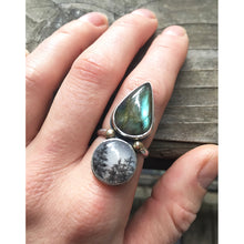 Pear shaped Labradorite and Glass Tree Bead Ring, Size 7.5