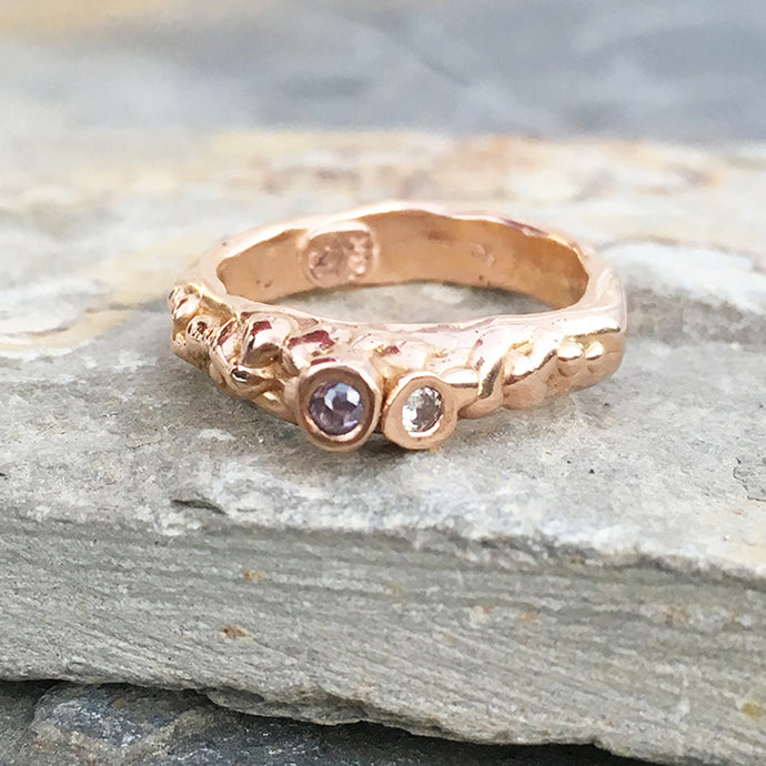 14kt Rose Gold Diamond Barnacle Ring Size 5.5
