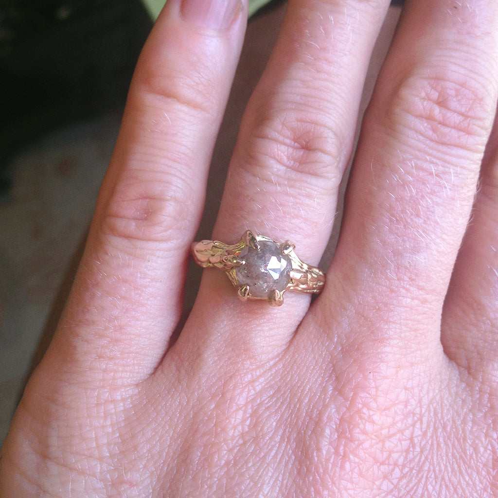 14kt Yellow Gold Tree Branch Diamond Solitaire Size 6.5 – Raw ...
