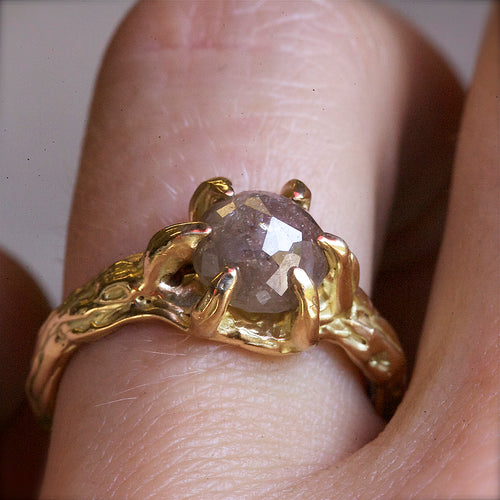 14kt Yellow Gold Tree Branch Diamond Solitaire