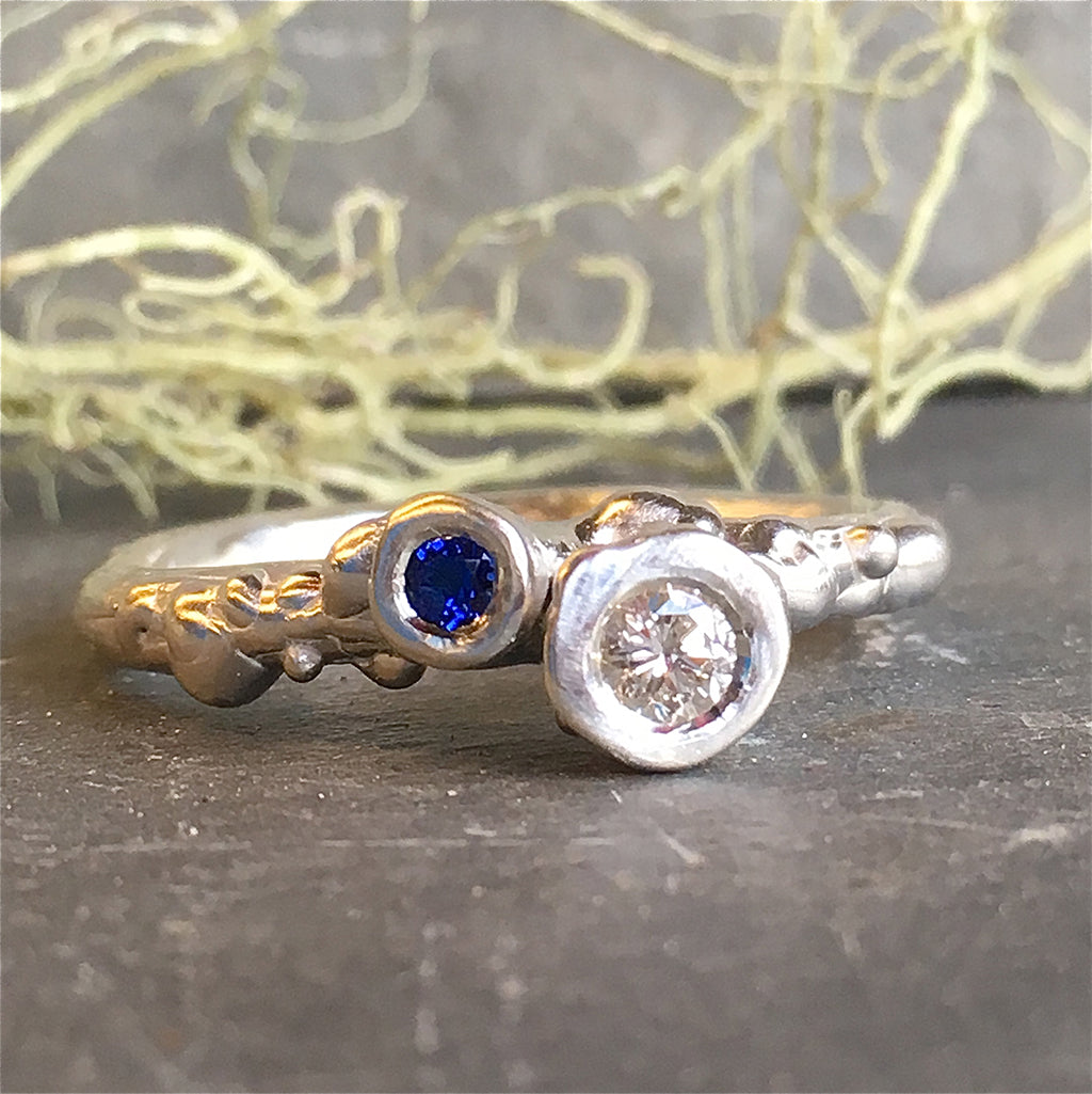 Two Stone Diamond and Blue Sapphire Sterling Silver Barnacle Ring