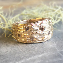 14kt Solid Gold Wide Tree Textured Band w/ Diamonds