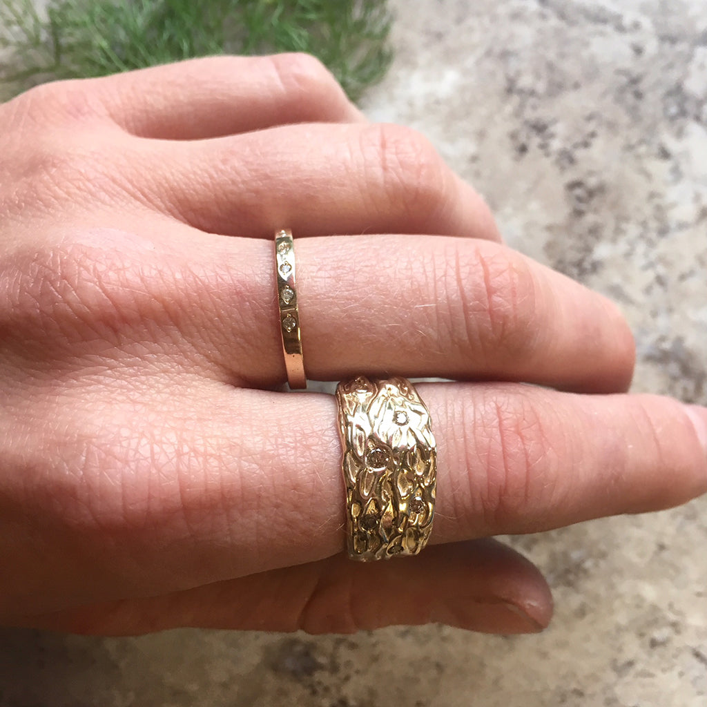 14kt Gold, Wide Textured, Wedding Band, Handmade Wide Ring, 14kt ...