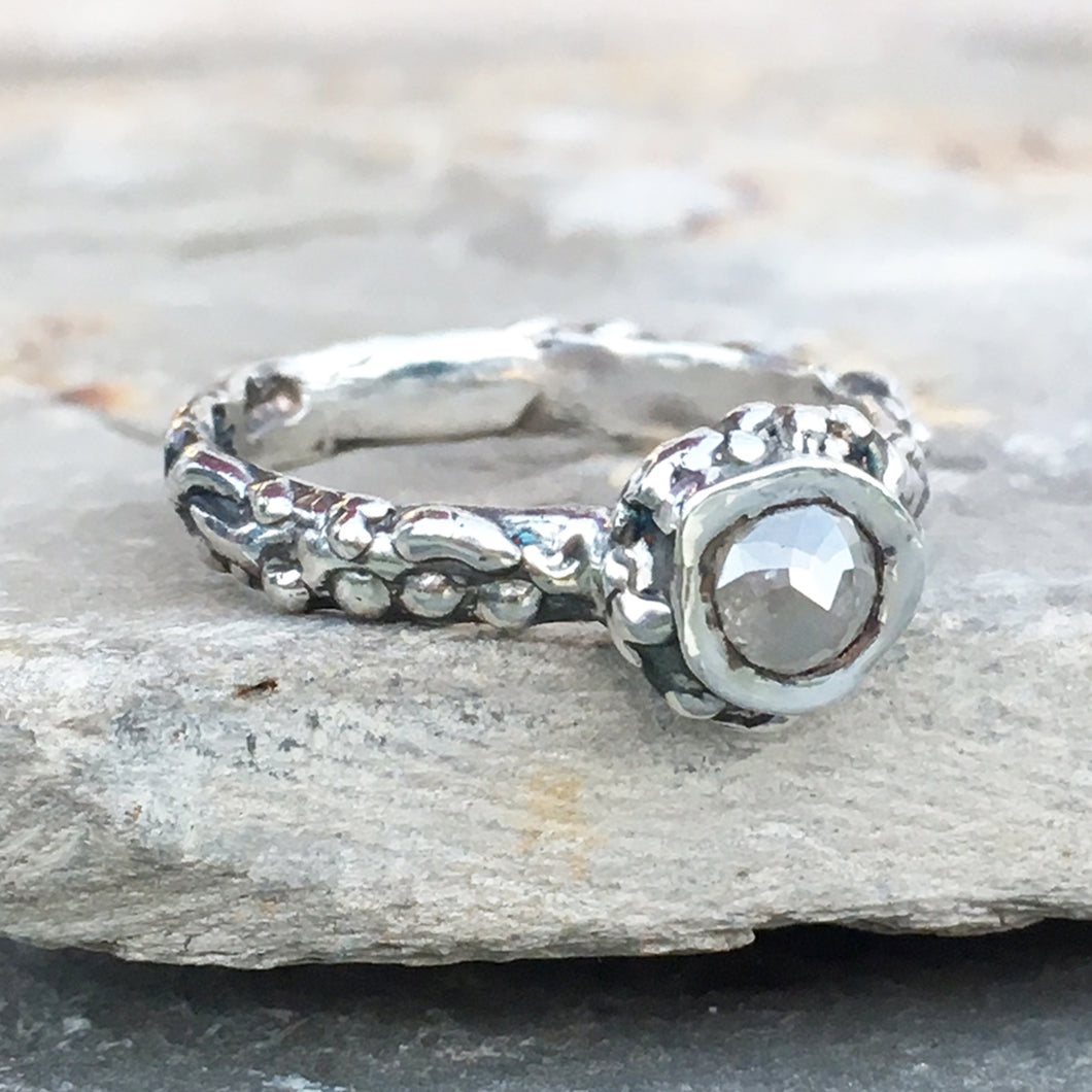 Rose Cut Diamond Barnacle Ring Size 6.5