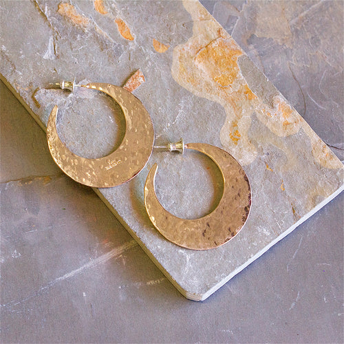 Hammered Crescent Hoops