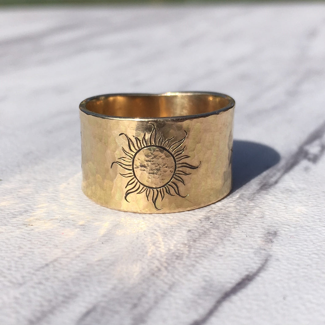 14kt Yellow Gold 13mm Wide Wedding Band with Sun Engraving