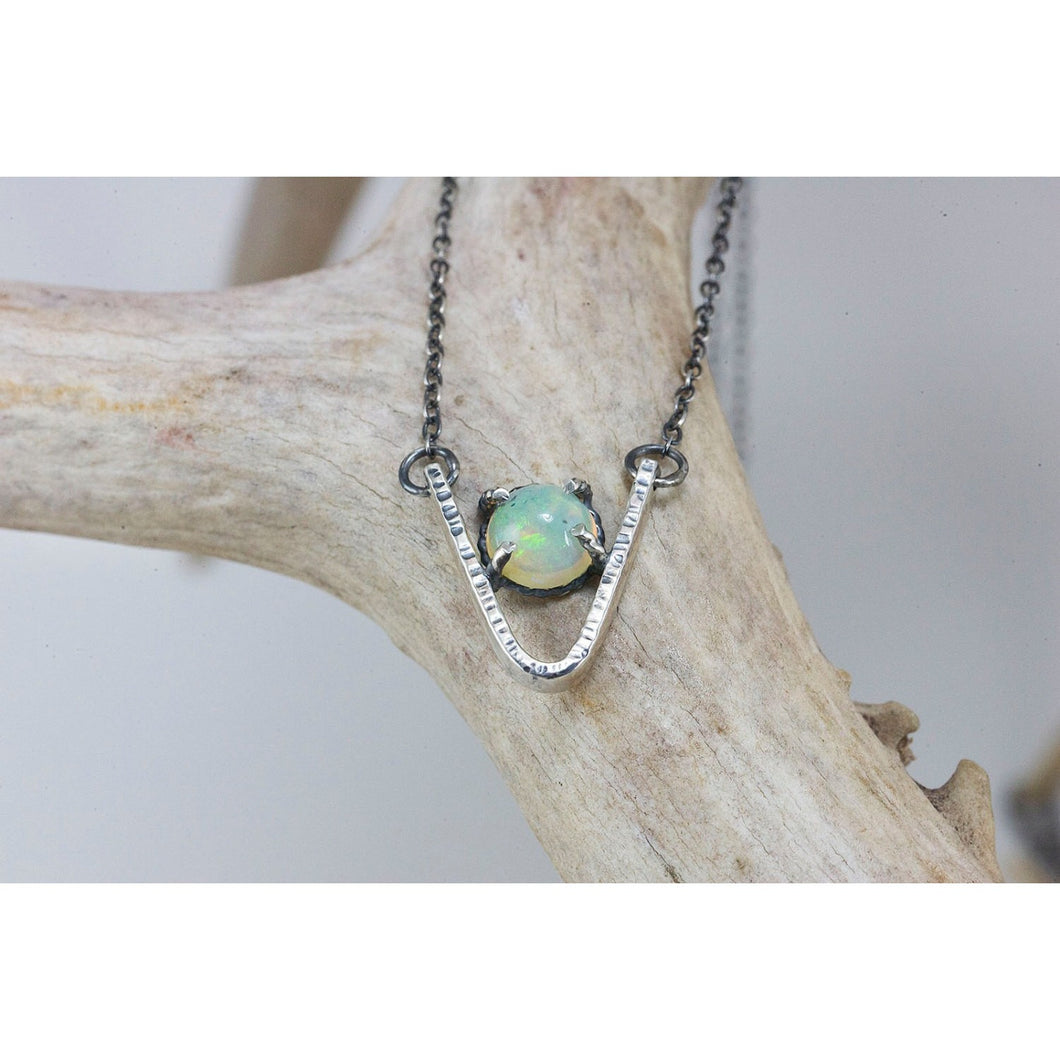 Genuine Opal and Sterling Silver Necklace