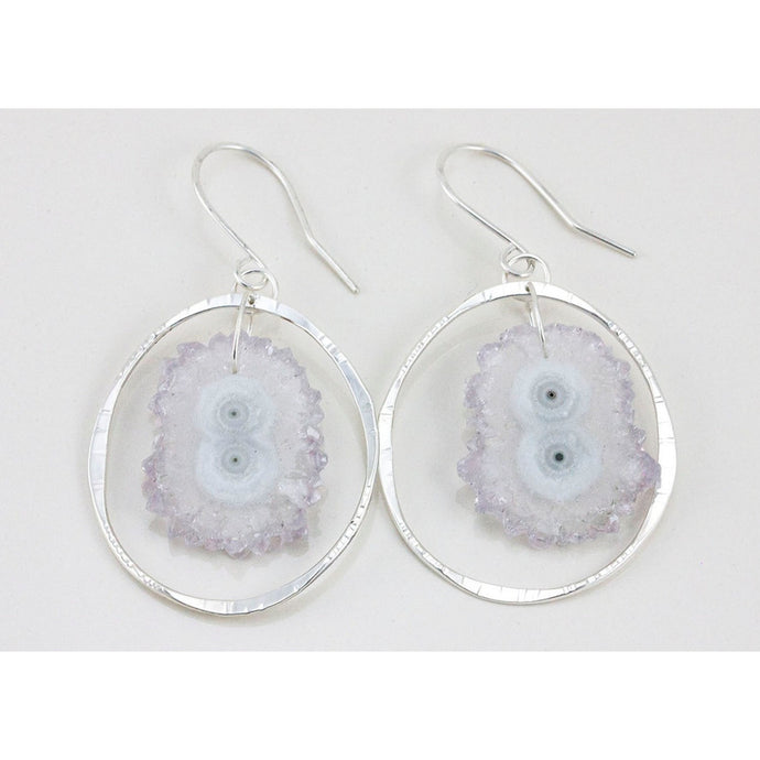 Raw Amethyst Stalactite Dangle Earrings