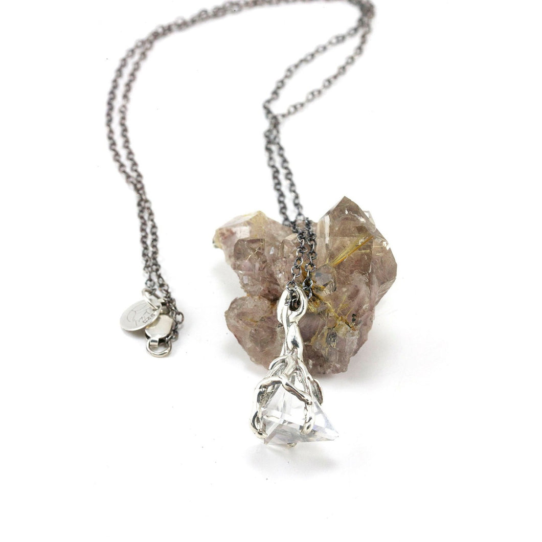Sterling Silver Quartz Pyramid Crystal Necklace