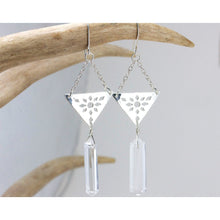 Geometric Triangle Dangle Earrings with Quartz Crystal Points