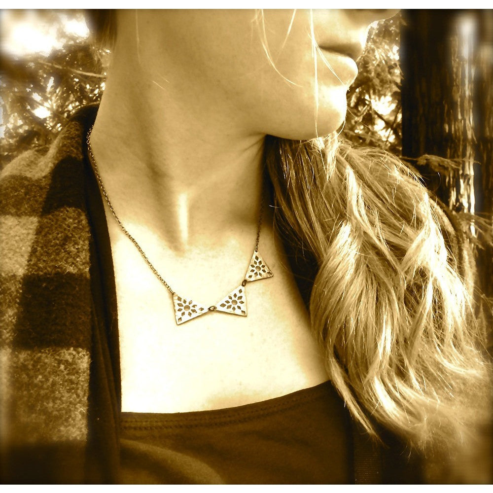 Hammered Brass Triangle Necklace