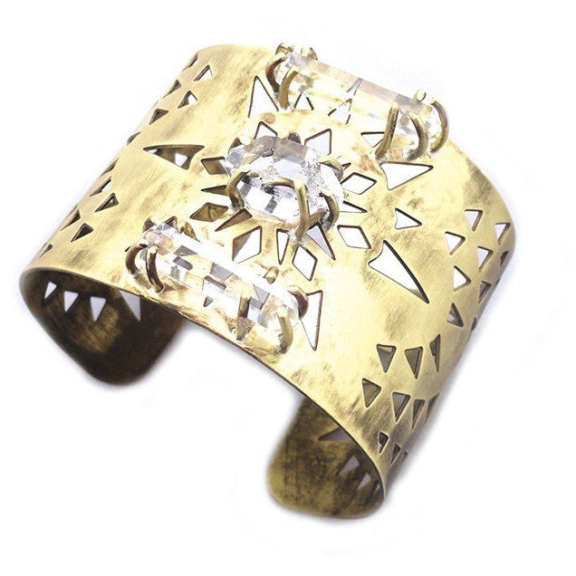 Geometric Brass Cuff with Crystal Quartz Points and Herkimer Diamonds