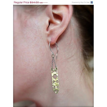 Rectangle Brass Dangle Earrings