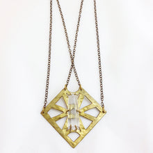Geometric Square Necklace w/ Quartz Point