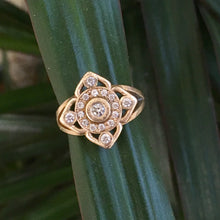 Mandala Flower Halo Diamond Engagement Ring