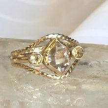 Herkimer Diamond  Engagement Ring with Citrine side accent stones, 14kt Yellow Gold, tri-band