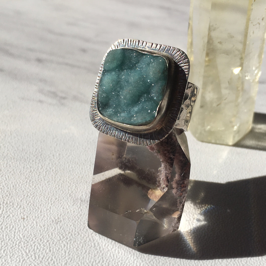 Blue Hemimorphite Sterling Silver Ring, Size 8