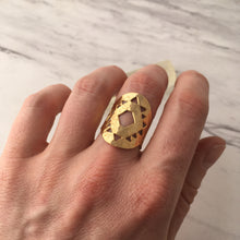 14k Gold Dipped Adjustable Sri Yantra Ring