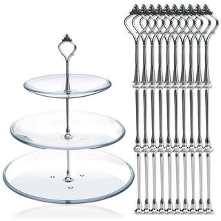 10pcs 3 Tier Cake Plate Stand, Fittings  Metal Wedding Party Cake Stand