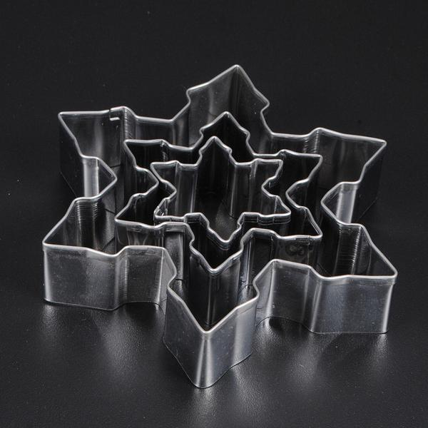 3pcs/1set  Stainless Steel Snowflake Cookie Cutter