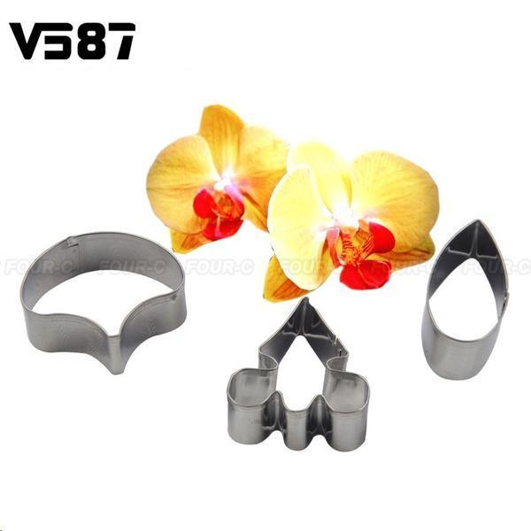 3 PCS Orchid-Patterned Petal Cookie Cutter
