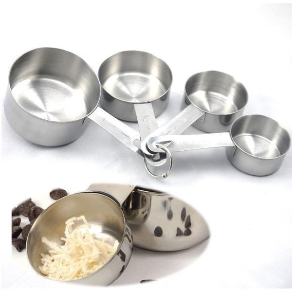 4 Pcs Stainless Steel Measuring Cups/Spoons