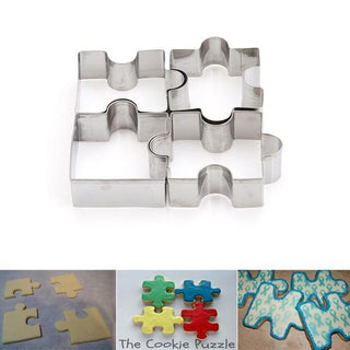 4 Pcs Puzzle-Shaped Stainless Steel Cookie Cutter Set