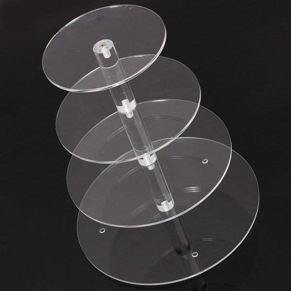 Assemble and Disassemble Round Acrylic 4 Tier Cupcake Cake Stand