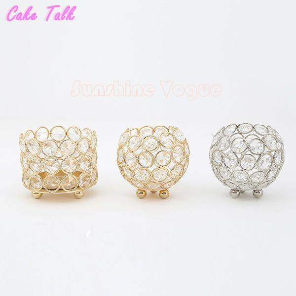 Golden Crystal Candle Holders Cylinder