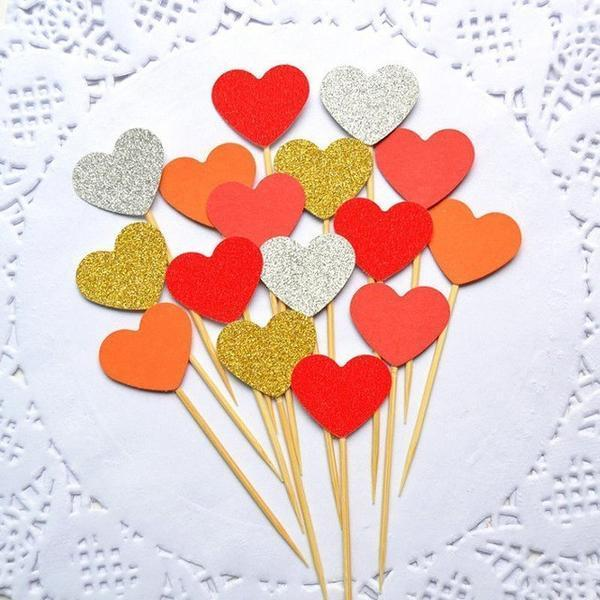 10 Pcs Colorful Heart Cake Toppers
