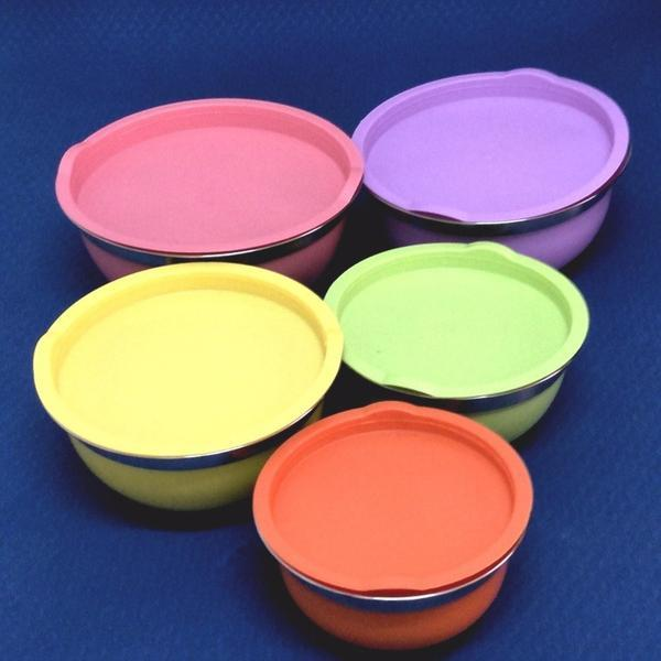 Colorful Stainless Steel Mixing Bowls with Lids, Set of 5 (00297)