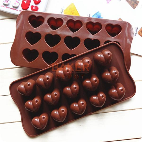 DIY Heart-shaped Silicone Chocolate Molds