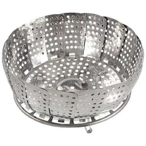 Folding Stainless Steel Mesh Holes Steam Basket Cooker