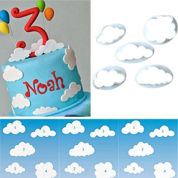 5 pc Cloud Fondant Mold Cutter