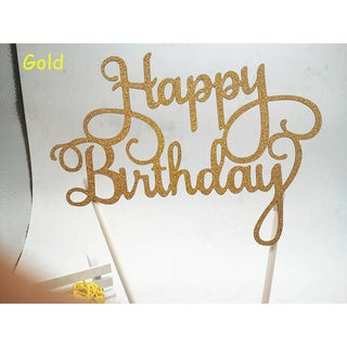 Glittered 'Happy Birthday' Script Cake Toppers