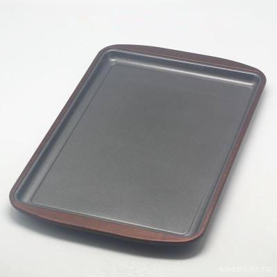 Metal Non-stick Baking Sheet, Silicone Edged Shallow Baking Pan